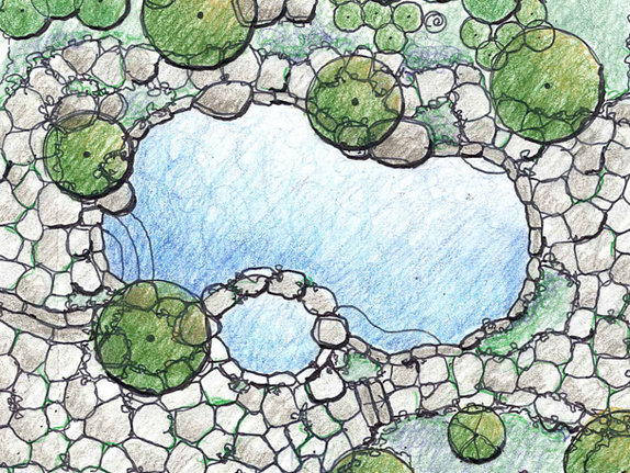 Aerial View Of Landscape Design Drawing