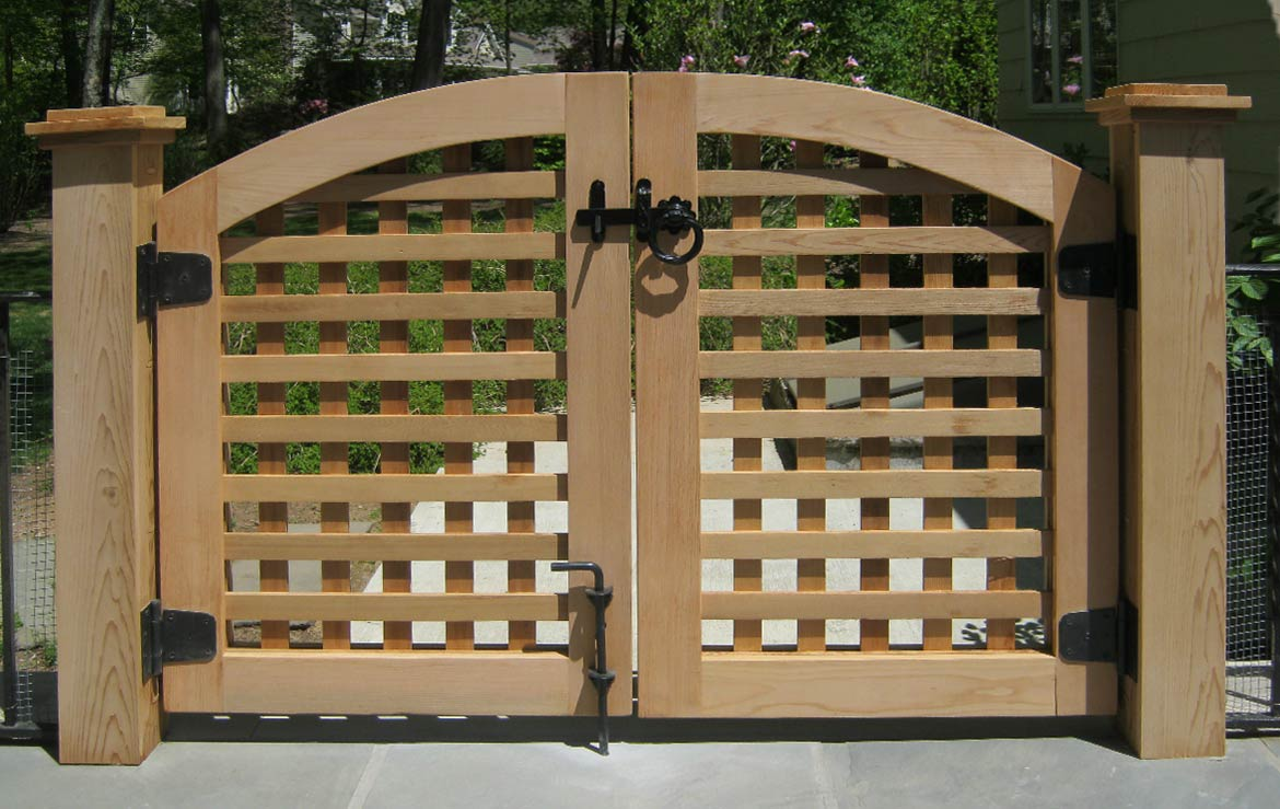 Custom double cedar lattice gate.