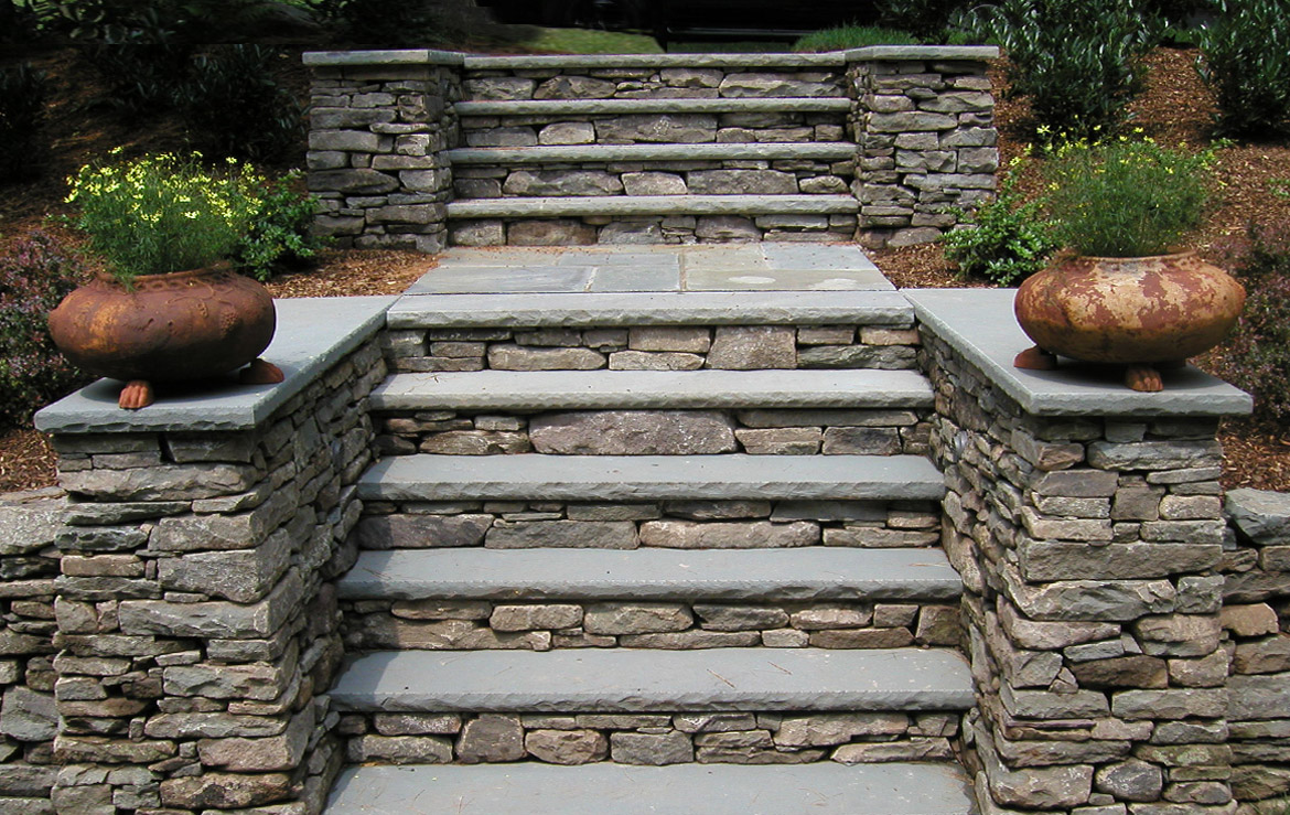 Stone Steps and Porch Hardscape